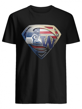 Superman seattle seahawks and washington huskies american flag independence day shirt