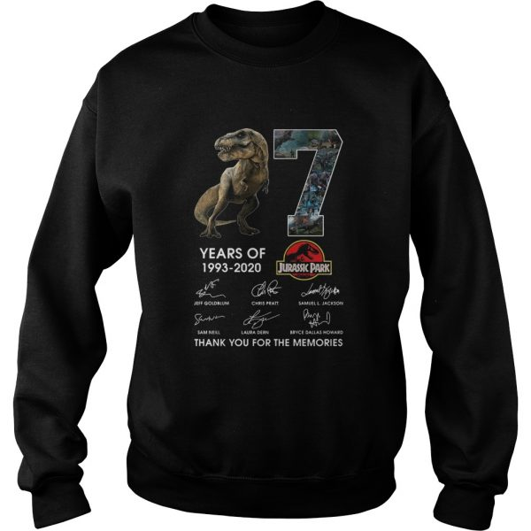 17 Years Of 1993 2020 Jurassic Park Thank You For The Memories Signatures  Sweatshirt