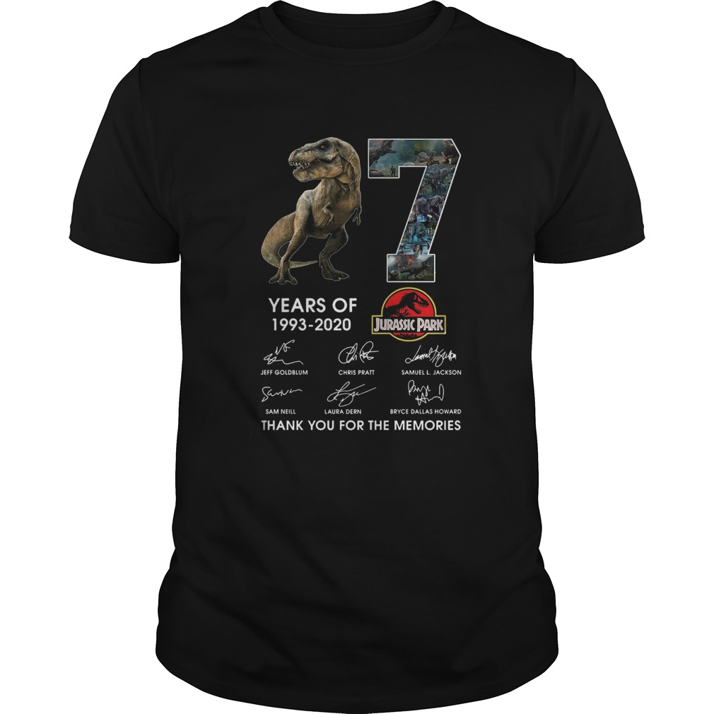 17 Years Of 1993 2020 Jurassic Park Thank You For The Memories Signatures Unisex