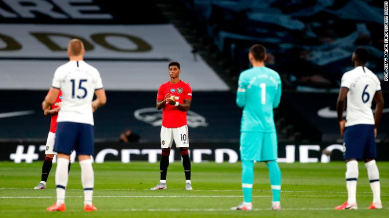 Marcus Rashford takes a knee and raises his fist but is denied the perfect ending to a momentous week