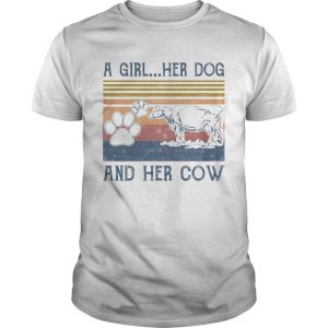 A girl her paw dog and her cow vintage retro  Unisex