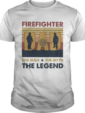 Firefighter dad the man the myth the legend happy fathers day vintage retro shirt