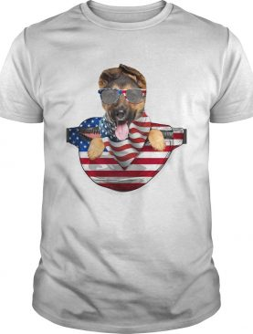 German shepherd waist pack american flag independence day shirt