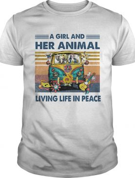 Hippie bus a girl and her animal living life in peace vintage retro shirt