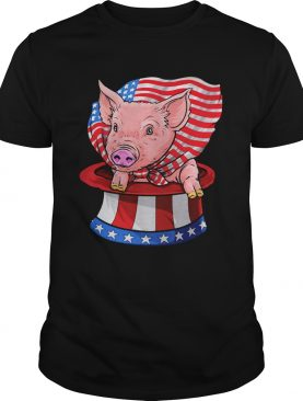 Pig in hat American flag veteran Independence day shirt