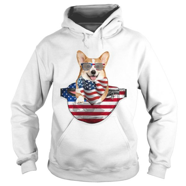 Welsh corgi waist pack american flag independence day  Hoodie
