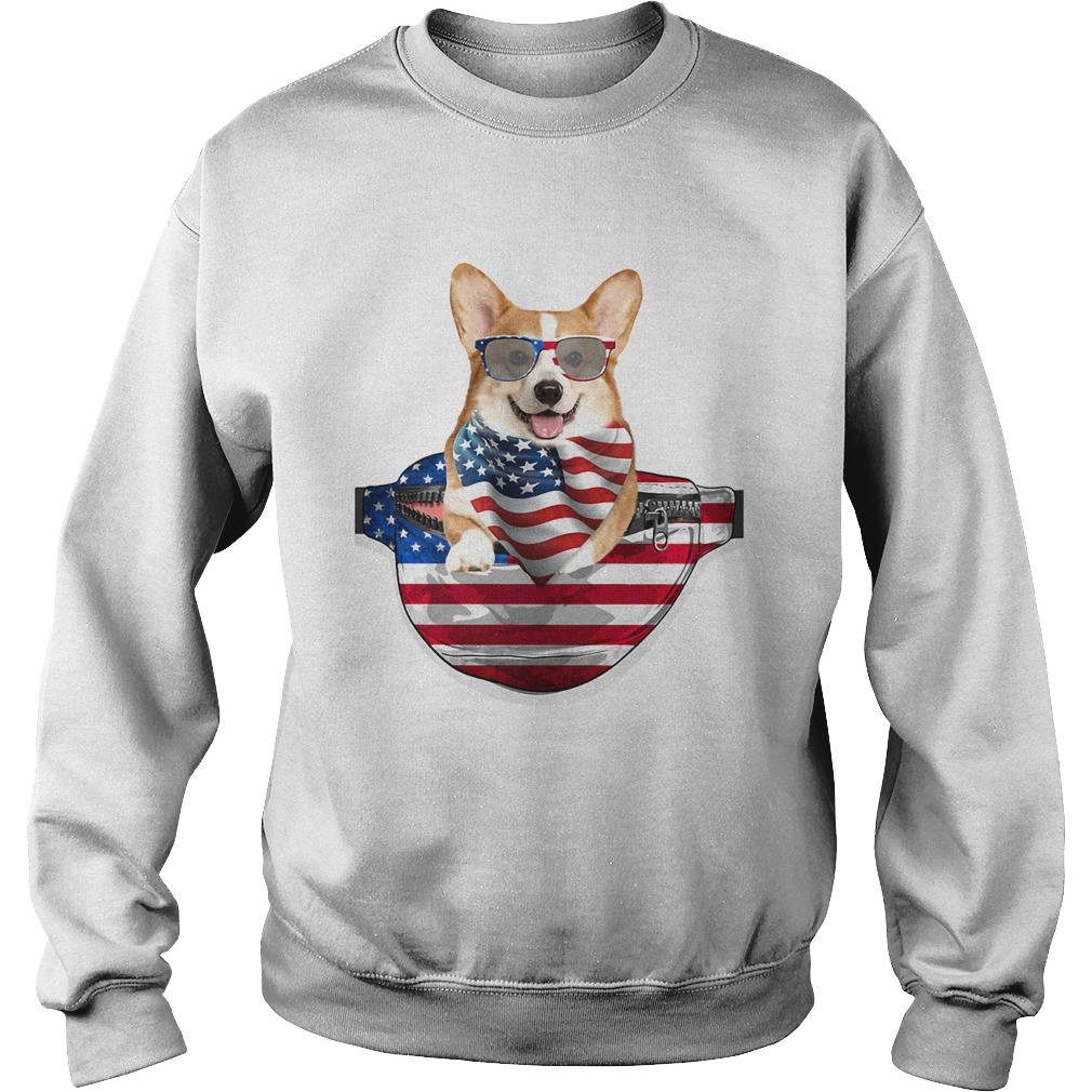 Welsh corgi waist pack american flag independence day Sweatshirt