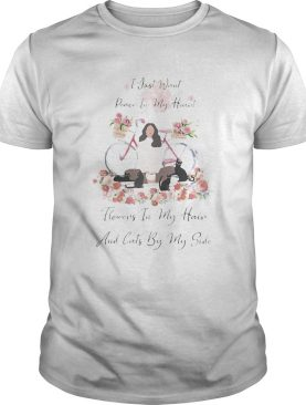 I just want peace in my heart flowers in my hair and cats by my side bike flower girl shirt