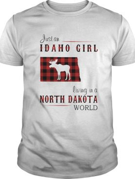 Just an idaho girl living in a north dakota world map shirt