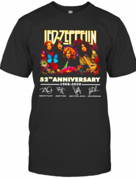Led Zeppelin 52Nd Anniversary 1968 2020 Thank You For The Memories Signatures Flower T-Shirt