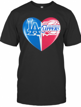 Los Angeles Dodgers And Los Angeles Clippers Heart T-Shirt