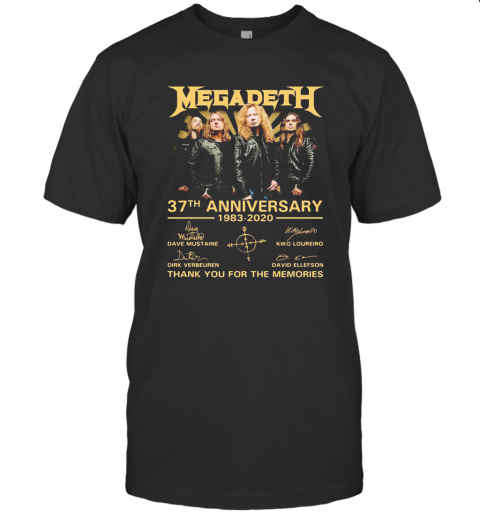 Megadeth 37Th Anniversary 1983 2020 Thank You For The Memories Signatures T-Shirt Classic Men's T-shirt