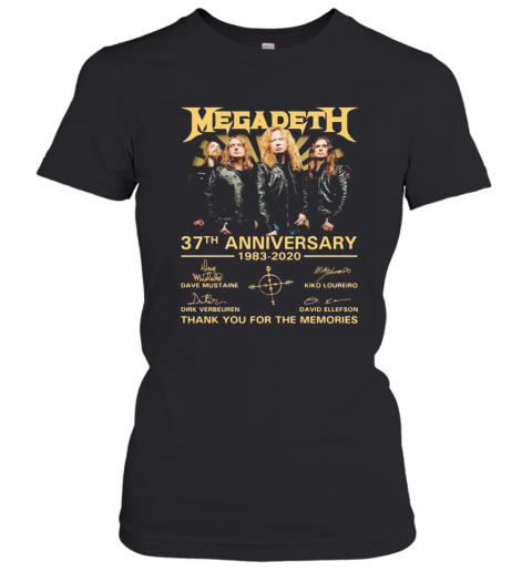 Megadeth 37Th Anniversary 1983 2020 Thank You For The Memories Signatures T-Shirt Classic Women's T-shirt