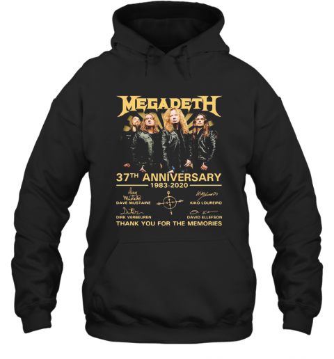 Megadeth 37Th Anniversary 1983 2020 Thank You For The Memories Signatures T-Shirt Unisex Hoodie