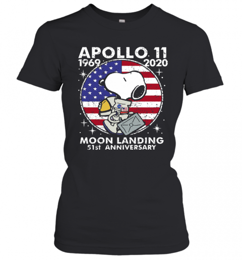 Snoopy Apollo 11 1969 2020 Moon Landing 51St Anniversary American Flag Independence Day Stars T-Shirt Classic Women's T-shirt
