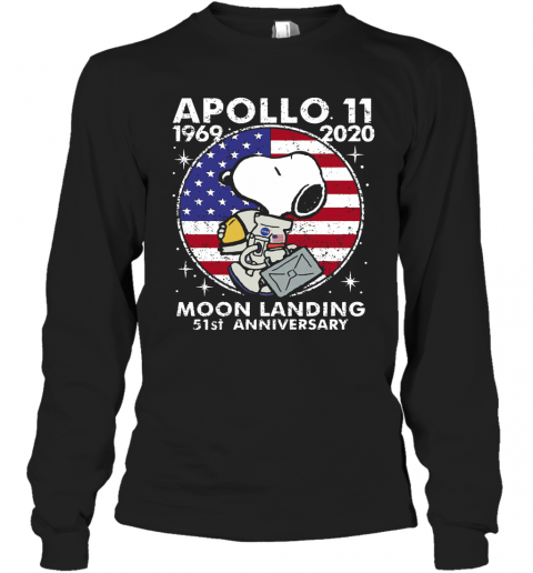 Snoopy Apollo 11 1969 2020 Moon Landing 51St Anniversary American Flag Independence Day Stars T-Shirt Long Sleeved T-shirt