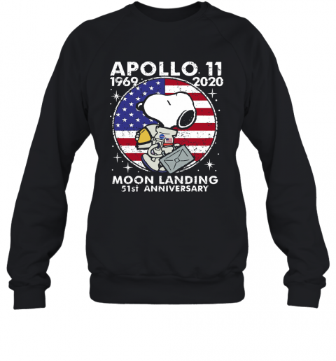 Snoopy Apollo 11 1969 2020 Moon Landing 51St Anniversary American Flag Independence Day Stars T-Shirt Unisex Sweatshirt