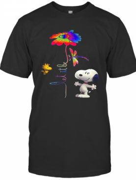 Snoopy Woodstock And Butterfly Let It Be Flower T-Shirt