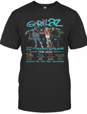 Gorillaz 22Nd Anniversary 1998 2020 Thank You For The Memories Signatures T-Shirt