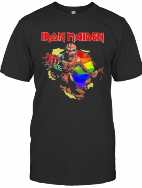Iron Maiden Band Skeleton Lgbt Flag T-Shirt