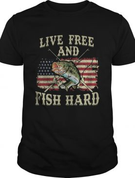 Live free and fish hard american flag independence day shirt