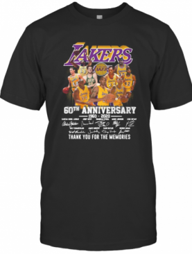 Los Angeles Lakers 60Th Anniversary 1960 2020 Thank You For The Memories Signatures T-Shirt