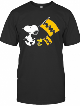 Snoopy And Woodstock Holding Flag T-Shirt