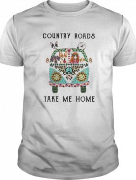 Country Roads Take Me Home Hippie Peace Car Girl And Dogs shirt