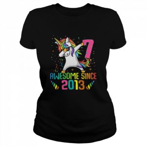 Awesome Since 2013 7 Years Old 7th Birthday Unicorn Dabbing  Classic Women's T-shirt