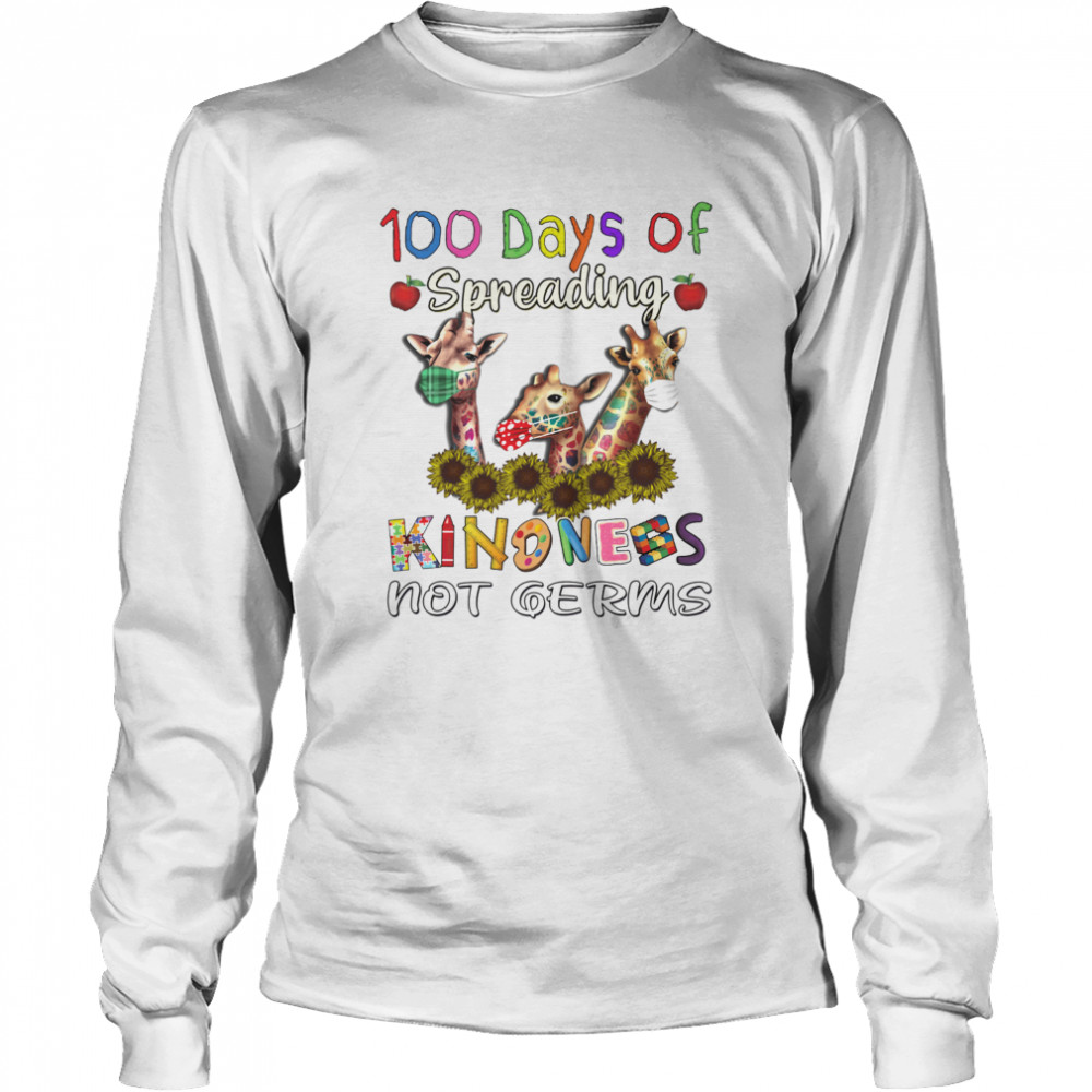 100th Day of Of Spreading Kindness Not Germs Long Sleeved T-shirt