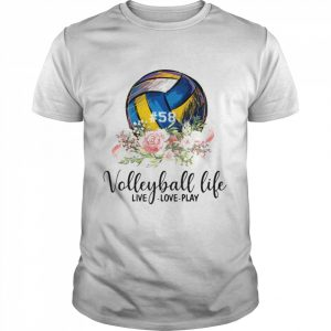 #58 volleyball life live love play floral  Classic Men's T-shirt