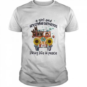 A Girl And Her German Shepherds Living Life In Peace Bus Sunflowers  Classic Men's T-shirt